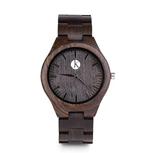 Kim Johanson Herren Ebenholz Armbanduhr *Dark Star* in Braun/Schwarz mit Einem Gliederarmband Handgefertigt Quarz Analog Uhr inkl. Geschenkbox