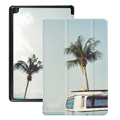 Funda para Tableta Fire HD 8 (versión 2018/2017/2016), Coche Antiguo aparcado en una Playa Tropical Funda con activación/Reposo automático