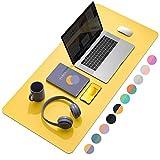 YSAGiデスクマット 防水PUレザーラップトップマット 薄型リバーシブルマット オフィス及び自宅用デスクブロッター パソコンマウスパッド 机マット (黄色と紫, 90*43cm)