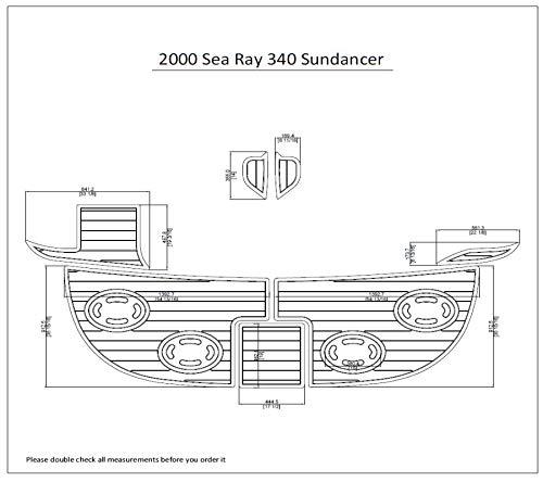 2000 Sea Ray 340 Sundancer Swim Platform Pad 1/4' 6mm Boat EVA Teak Decking (Medium Grey with Black Lines)