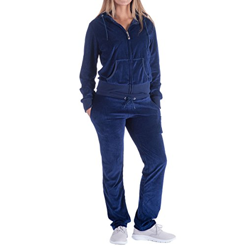 Women's 2 Piece Solid Velvet Tracksuit Zip-Up Hooded Jacket and Matching Pants Sweatsuits Sets Jogging Suit (Small, Navy)