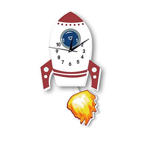 Martin Kench Cartoo Kinder Wanduhr, Uhr ohne Tickgeräusche, Kreativität Kinderuhr für Kinderzimmer, Lautlos Uhrwerk, Wanddeko Scandi Deko (Rakete)
