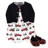 Hudson Baby Girls' Cotton Dress, Cardigan and Shoe Set, Christmas Tree, 9-12 Months