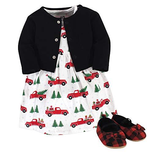 Hudson Baby Girls' Cotton Dress, Cardigan and Shoe Set, Christmas Tree, 3-6 Months
