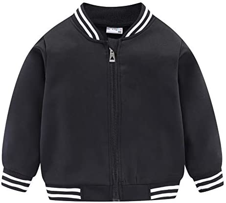 LittleSpring Little Boys Baseball Jacket Quick Dry Full Zip Fall Casual Black 5T product image