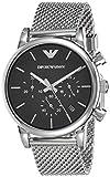emporio armani orologio cronografo quarzo uomo con cinturino in mesh di acciaio ar1811, grigio argento