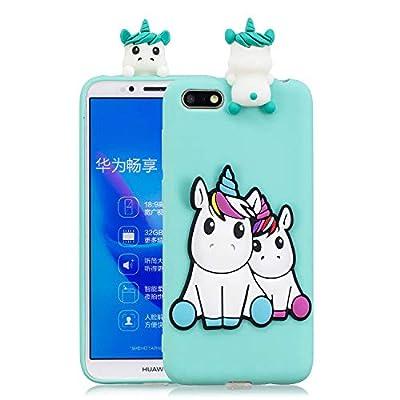 HopMore Compatible con Funda Huawei Y5 2018 Silicona Dibujo 3D Divertidas Panda Animal Carcasa TPU Gel Ultrafina Slim Case Antigolpes Caso Protección Cover Design Gracioso - Unicornio Unicorn