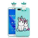 HopMore Compatibile con Cover Huawei Y5 2018 Silicone Disegni 3D Panda Animal Divertenti Fantasia Gomma Morbido Custodia Huawei Y5 2018 Antiurto Protettiva Case Molle Caso - Unicorno