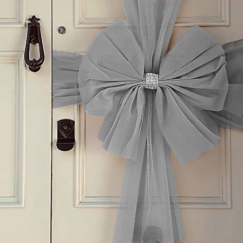 Oaktree UK Large Luxury Christmas Door Window Bow 4 Colours Xmas Baby Shower Wedding (Silver)