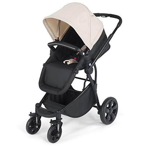 GOPLUS Faltbarer Kinderwagen, Buggy mit Liegefunktion, mit Aluminiumrahmen, mit Bremssystem & Einziehbarem Griff, Sportwagen für Baby ab 6 Monate, bis zu 15kg belastbar (Beige)