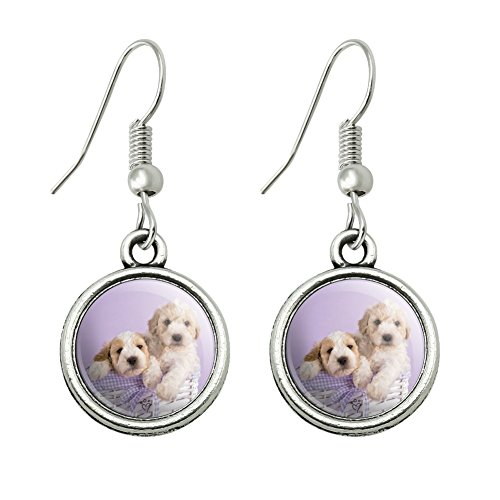 GRAPHICS & MORE Spoodle Cockapoo Puppies Dogs Wicker Basket Novelty Dangling Drop Charm Earrings