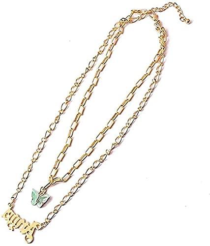BEISUOSIBYW Co.,Ltd Collar con Nombres Bohemios para Mujeres y niñas Collar con Colgante de Mariposa Dorada Collares Collar de joyería