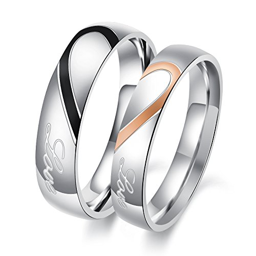 OPK Rings for Couples His and Her Stainless Steel Heart Shape Matching Set Real Love Couples Wedding Band for him (A Pair)
