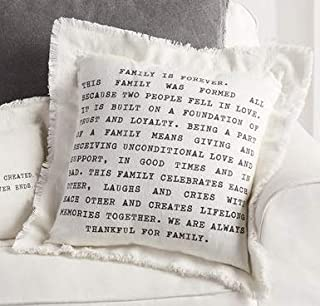 Mud Pie Family Frayed Cotton Pillow 20