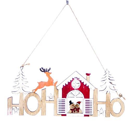 BESTOYARD Décoration de Noël Hohoho Bois Suspendu Panneaux Plaque de Porte Murale Noël Sapin Maison Renne Bonhomme de Neige