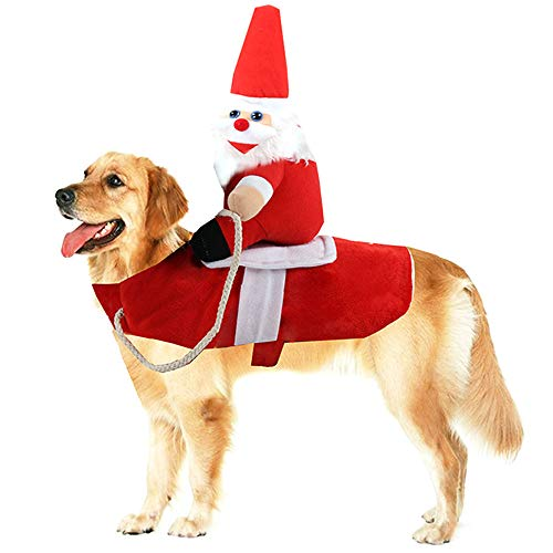 Nativae Dog Christmas Costume Santa Claus Riding Reindeer Clothes Pet Xmas Cosplay Suit Warm Apparel Party Dressing Up Clothing for Dogs Cats,Red,L