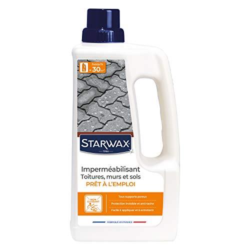 STARWAX Imperméabilisant Eau et Graisses pour Toitures, Murs et Sols Extérieurs - 1L - Protection Hydrofuge et Oléofuge