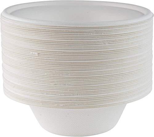 Lot de 50 bols en papier blanc super rigides - Bols jetables extra solides - Respectueux de l'environnement, biodégradables et compostables - Idéaux pour servir sans plastique - 237 ml