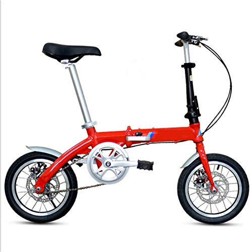 AMEA Bicicletta Pieghevole Bici per Adulti Uomini e Donne, 14 Pollici Ruote Singola velocità Leggero Ciclismo Studenti Ragazze Bambine Urbano Commuter Donna, Carry Posteriore Rack,Rosso,14 inch