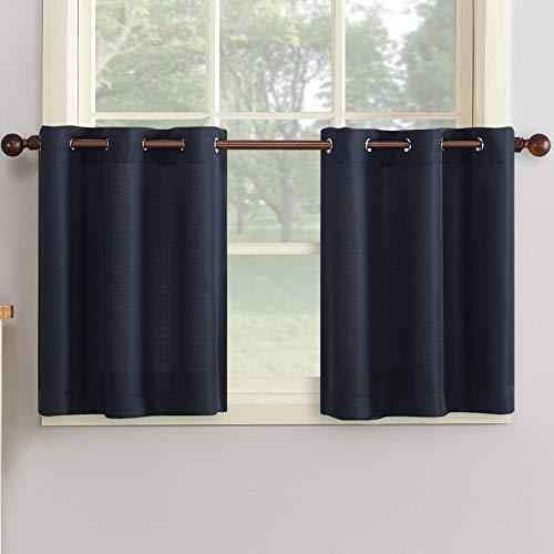 """No. 918 Montego Grommet Textured Kitchen Curtain Tier Pair, 56"""" x 24"""", Navy Blue"""