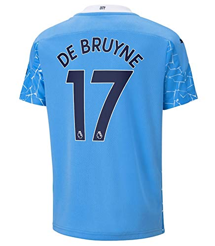 NHMao #17 DE Bruyne 2020/2021 New Season Manchester Men's Home Soccer T-Shirts Jersey Color Blue Size L