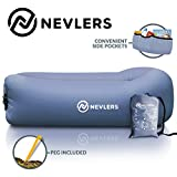 Nevlers Inflatable Lounger with Side Pockets and Matching Travel Bag - Light Wash Blue Jeans Print - Waterproof and Portable - Great & Easy to Take to The Beach, Park, Pool, and as a Camping Accessory