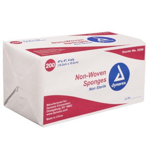 Dynarex Non-Sterile Non Woven Sponge, 4x4 Inch, 200 Count