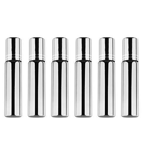 FRCOLOR 6 Botellas de Aceite Esencial de 10 Ml con Rodillo de Vidrio con Bolas de Rodillo de Acero Inoxidable Botellas de Perfume para Viajes a Casa