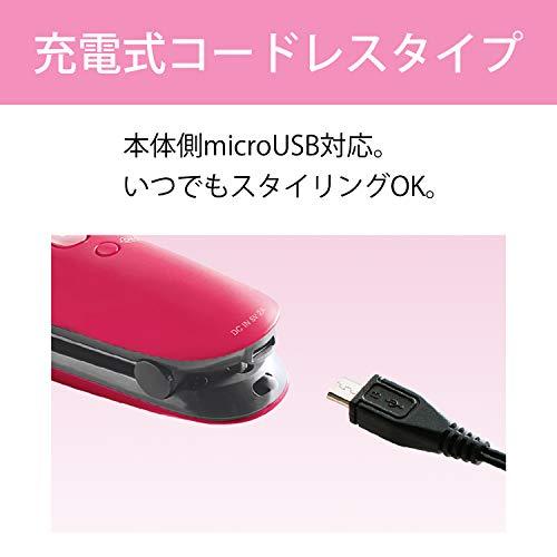 コイズミヘアアイロンストレートコードレス海外対応microUSB対応ピンクKHS-8620/P