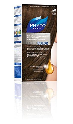Phyto Color Coloration Soin Permanente Haute Brillance aux Pigments Végétaux - N°4D : Châtain Clair Doré