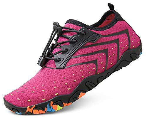 kealux Women Men Barefoot Quick-Dry Water Shoes Multifunctional Beach Sneakers for Beach Swim Surf Diving Aqua Sports Pool Boating Walking Park Yoga Lake(C Pink)-43