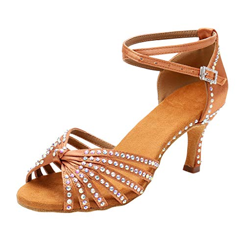 Great Price! Womens Stylish Comfortable Open Toe Low Heel Sandals Ankle Strap Rhinestone Buckle Danc...