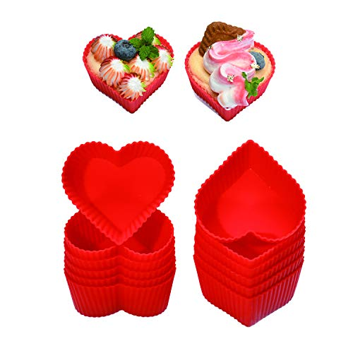 Silicone Baking Cups Cupcake Liners - Non-Stick Pastry Muffin Liner Molds,2.75 Inch Mini Cupcake Silicone Mold, Reusable Storage Container,Heart, 12 Pack