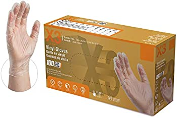 100-Count Ammex GPX3 Clear Vinyl Industrial Gloves