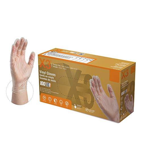 X3 Clear Vinyl Industrial Gloves, Box of 100, 3 Mil, Size Large, Latex Free, Powder Free, Disposable, Food Safe, GPX346100-BX