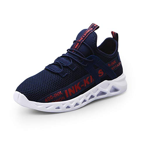 ANBIWANGLUO Jungen Turnschuhe Kinder Strickschuhe Leichte Schnürschuhe Trail Running Sneakers Mesh Atmungsaktive Laufsportschuhe mit weichen Sohlen Blau 27 EU