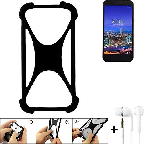 K-S-Trade® Handyhülle Für Vestel 5530 Schutzhülle Bumper Silikon Schutz Hülle Cover Case Silikoncase Silikonbumper TPU Softcase Smartphone, Schwarz (1x), Headphones