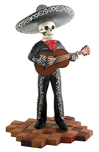 Skeleton Black Mariachi Band Trumpet Player Statue