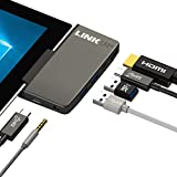 LINKUP Surface Go専用多機能アダプター+パワーデリバリー ―2×USB 3.0、2×USB-C(その一つはPD用)、1×HDMI最大4K@30Hz、3.5mm Audioアウトプット