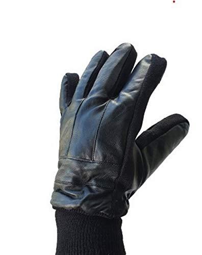 Guantes de piel de oveja auténtica para hombre, color negro