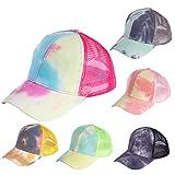 TATACO Criss Cross Baseball Caps Tie Dye Men and Women Ponytail Mesh Hat, Messy High Bun Trucker Hat