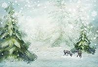 Amxxy 10x8ft雪に覆われた冬のワンダーランドの背景おとぎ話の雪景色シーン落下雪片採餌エルクベイビートナカイ雪に覆われたクリスマスツリーの背景写真撮影の写真スタジオの小道具