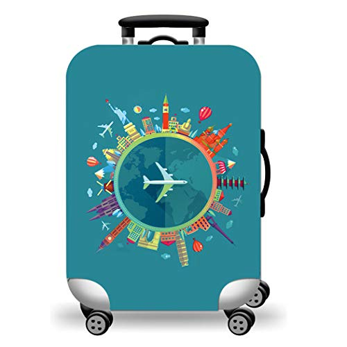 WUJIAONIAO Travel Luggage Cover Spandex Suitcase Protector Washable Baggage Covers (S (for 18--20 inch luggage), Go Travel)