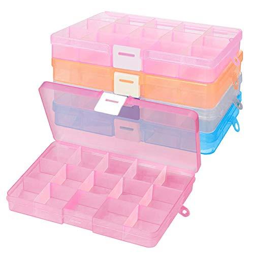XCOZU Confezione da 4 Scatole per Gioielli in Plastica Trasparente con Divisori Regolabili, Organizer per Orecchini, Contenitori con 15 Scomparti per Gioielli, Perline, Squillare e Orecchini