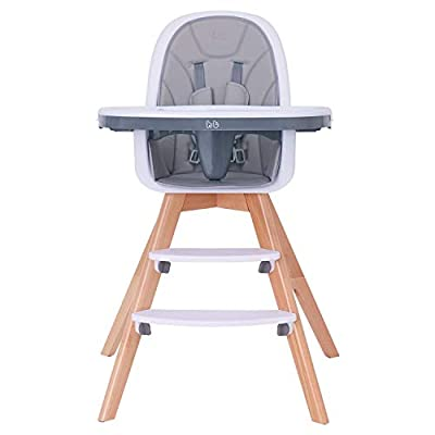 HM-tech Baby High Chair with Double Removable Tray for Baby/Infants/Toddlers, 3-in-1 Wooden High Chair/Booster/Chair | Grows with Your Child | Adjustable Legs | Modern Wood Design | Easy to Assemble