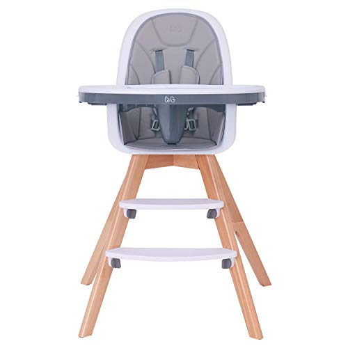 Baby High Chair with Double Removable Tray for Baby/Infants/Toddlers, 3-in-1 Wooden High Chair/Booster/Chair | Grows with Your Child | Adjustable Legs | Modern Wood Design | Easy to Assemble