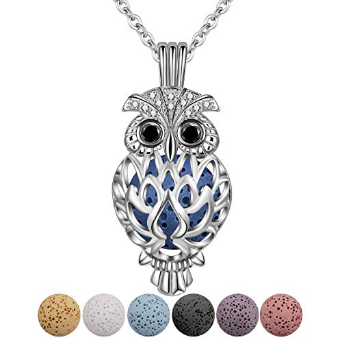 CELESTIA Silver Plated Essential Oil Diffuser Necklaces Aromatherapy Jewellery, Wise Owl Locket Pendant w/24 Chain and 7 Absorptive Coloured Lava Beads, Anxiety-Relief
