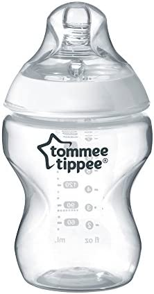 Tommee Tippee Closer to Nature® Baby Bottles, Breast-Like Teat with Anti-Colic Valve, 260ml, Pack of 6, Clear