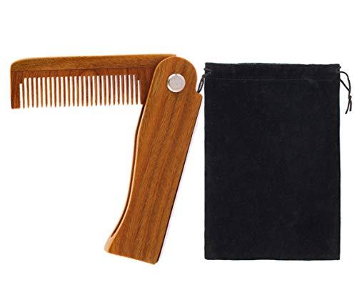 ESTART Pettine da barba in legno di sandalo con tasca in legno pieghevole pettine antistatico per capelli in legno da uomo
