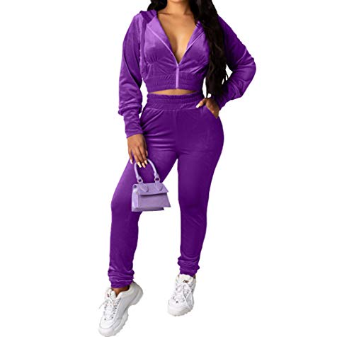 Women Tracksuit Set 2 Piece Velour Jogging Outfits Hoodie and Sweatpants Set Purple